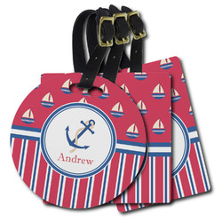 Sail Boats & Stripes Plastic Luggage Tags (Personalized)
