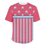 Sail Boats & Stripes Men's Crew T-Shirt (Personalized)