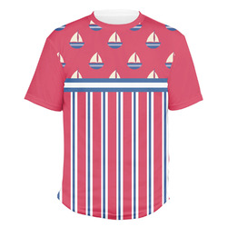 Sail Boats & Stripes Men's Crew T-Shirt (Personalized)