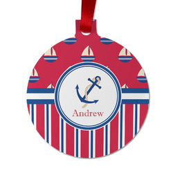 Sail Boats & Stripes Metal Ball Ornament - Double Sided w/ Name or Text