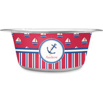 Sail Boats & Stripes Stainless Steel Dog Bowl (Personalized)