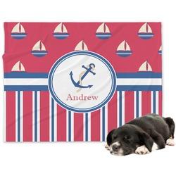 Sail Boats & Stripes Minky Dog Blanket - Large  (Personalized)