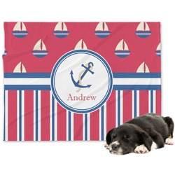 Sail Boats & Stripes Minky Dog Blanket (Personalized)