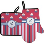 Sail Boats & Stripes Oven Mitt & Pot Holder (Personalized)