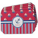 Sail Boats & Stripes Dining Table Mat - Octagon w/ Name or Text