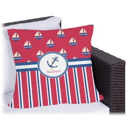 Sail Boats & Stripes Outdoor Pillow (Personalized)
