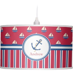 Sail Boats & Stripes Drum Pendant Lamp Linen (Personalized)