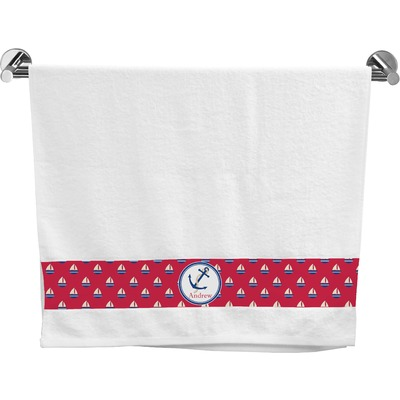 Sail Boats & Stripes Bath Towel (Personalized)