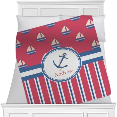 Sail Boats & Stripes Minky Blanket (Personalized)