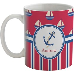 Sail Boats & Stripes Coffee Mug (Personalized)