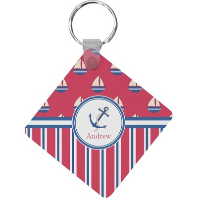 Sail Boats & Stripes Diamond Key Chain (Personalized)