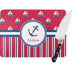 Sail Boats & Stripes Rectangular Glass Cutting Board (Personalized)