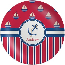 Sail Boats & Stripes Melamine Plate (Personalized)
