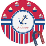 Sail Boats & Stripes Round Magnet (Personalized)
