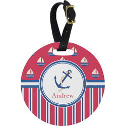 Sail Boats & Stripes Round Luggage Tag (Personalized)
