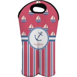 Sail Boats & Stripes Wine Tote Bag (2 Bottles) (Personalized)
