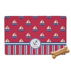 Sail Boats & Stripes Pet Bowl Mat (Personalized)