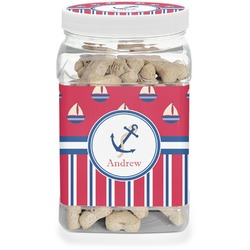 Sail Boats & Stripes Pet Treat Jar (Personalized)