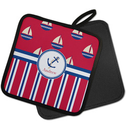 Sail Boats & Stripes Pot Holder w/ Name or Text