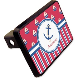 """Sail Boats & Stripes Rectangular Trailer Hitch Cover - 2"""" (Personalized)"""