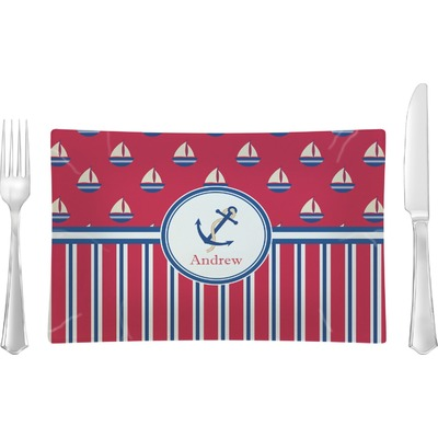 Sail Boats & Stripes Rectangular Glass Lunch / Dinner Plate - Single or Set (Personalized)