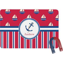 Sail Boats & Stripes Rectangular Fridge Magnet (Personalized)
