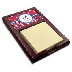 Sail Boats & Stripes Red Mahogany Sticky Note Holder (Personalized)