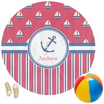 Sail Boats & Stripes Round Beach Towel (Personalized)