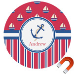 Sail Boats & Stripes Round Car Magnet (Personalized)