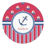 Sail Boats & Stripes Round Decal (Personalized)