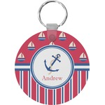 Sail Boats & Stripes Round Keychain (Personalized)