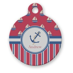Sail Boats & Stripes Round Pet Tag (Personalized)
