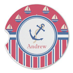 Sail Boats & Stripes Sandstone Car Coasters (Personalized)