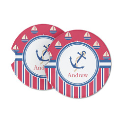 Sail Boats & Stripes Sandstone Car Coasters (Personalized)