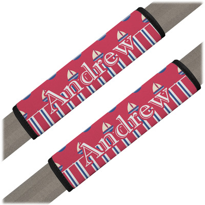 Sail Boats & Stripes Seat Belt Covers (Set of 2) (Personalized)
