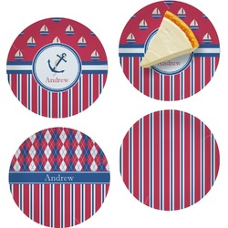 """Sail Boats & Stripes Set of 4 Glass Appetizer / Dessert Plate 8"""" (Personalized)"""