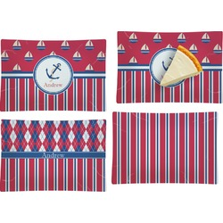 Sail Boats & Stripes Set of 4 Glass Rectangular Appetizer / Dessert Plate (Personalized)