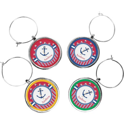 Sail Boats & Stripes Wine Charms (Set of 4) (Personalized)