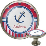 Sail Boats & Stripes Cabinet Knob (Silver) (Personalized)