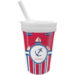 Sail Boats & Stripes Sippy Cup with Straw (Personalized)