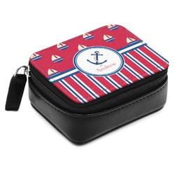 Sail Boats & Stripes Small Leatherette Travel Pill Case (Personalized)