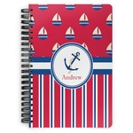 Sail Boats & Stripes Spiral Bound Notebook (Personalized)
