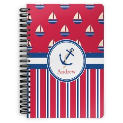 Sail Boats & Stripes Spiral Notebook (Personalized)