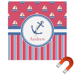 Sail Boats & Stripes Square Car Magnet (Personalized)