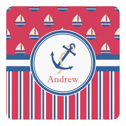 Sail Boats & Stripes Square Decal - Large (Personalized)