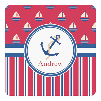 Sail Boats & Stripes Square Decal (Personalized)