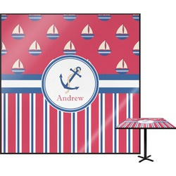 """Sail Boats & Stripes Square Table Top - 30"""" (Personalized)"""