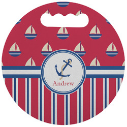 Sail Boats & Stripes Stadium Cushion (Round) (Personalized)