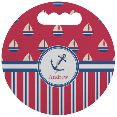 Sail Boats & Stripes Stadium Cushion (Round) (Personalized)