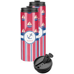 Sail Boats & Stripes Stainless Steel Skinny Tumbler (Personalized)